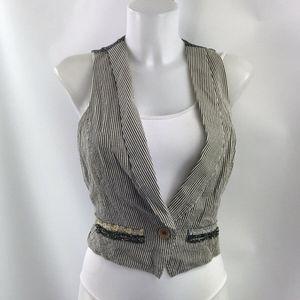 Joie Grey Striped & Polka Dot Print Vest Size M